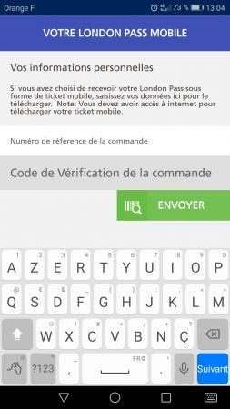 Application mobile du London Pass