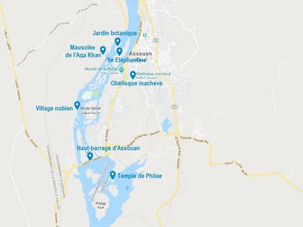 Carte de points d'intérêt à voir et visiter à Assouan