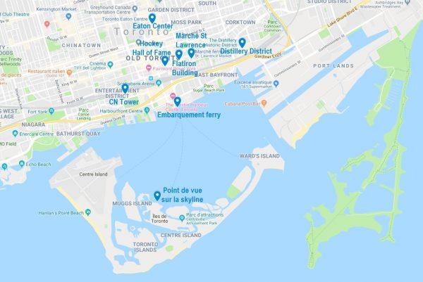 Carte de points d'intérêt pour visiter Toronto