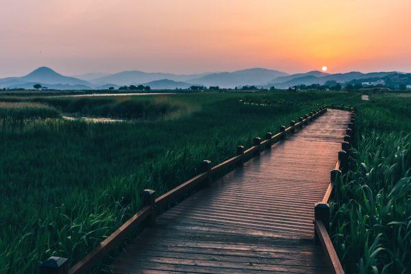 Coucher de soleil dans la baie de Suncheon