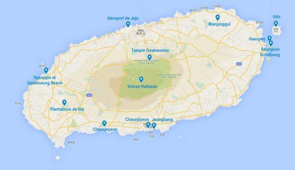 Carte de points d'intérêt de Jeju
