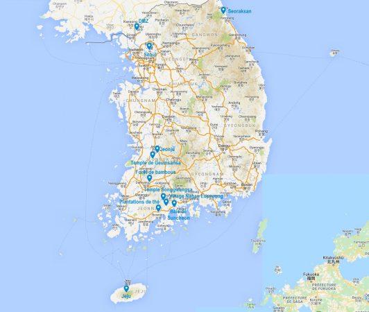 Carte de points d'intérêt en Corée du sud
