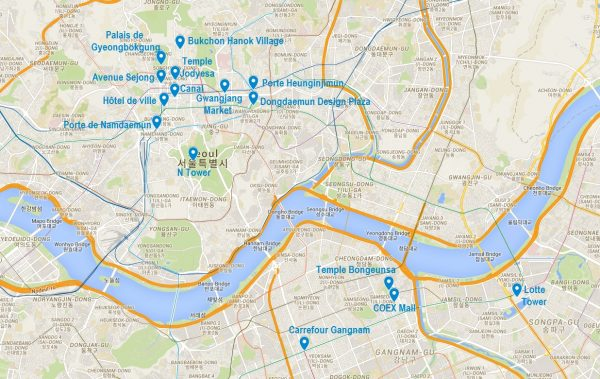 Carte de points d'intérêt pour visiter Séoul