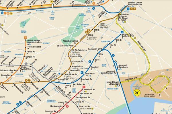 Plan du métro de New-York avec JFK
