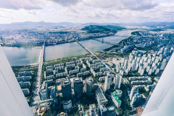 Vue sur Seoul depuis la plateforme d'observation de la Lotte Tower