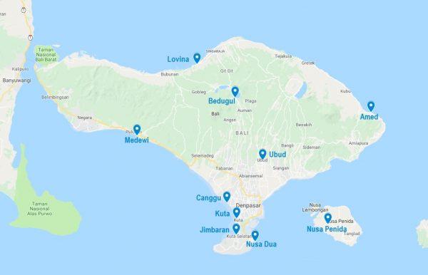 Carte de villes où dormir à Bali