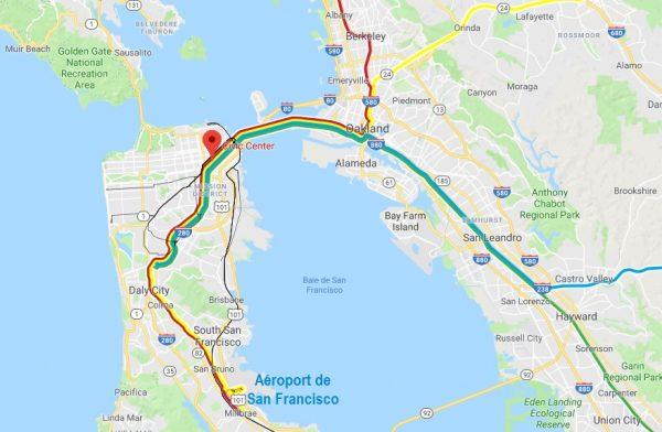 Carte des lignes de métro de San Francisco