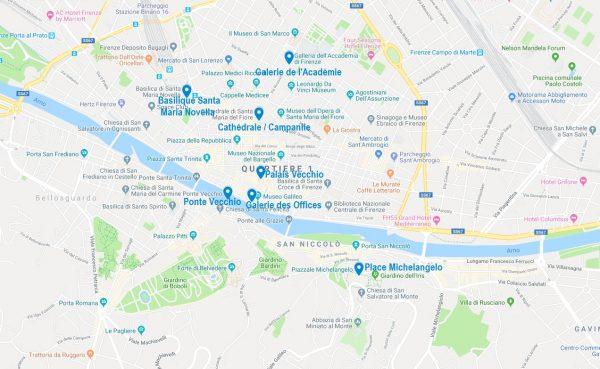 Carte de points d'intérêt à Florence