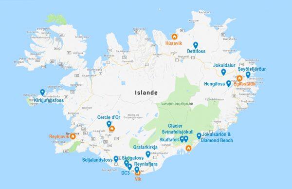 Carte de points d'intérêt pour savoir où dormir en Islande