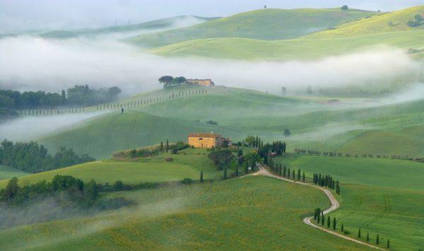 Paysage dans le Val d'Orcia en Toscane