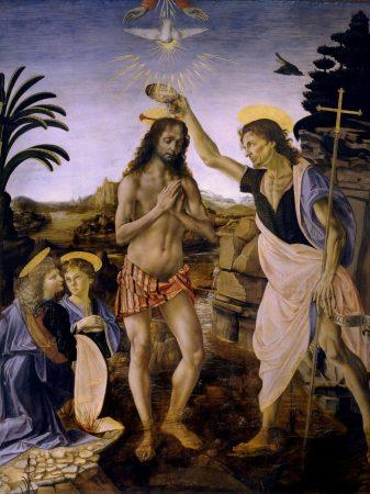 Peinture du baptême du Christ dans la galerie des Offices à Florence
