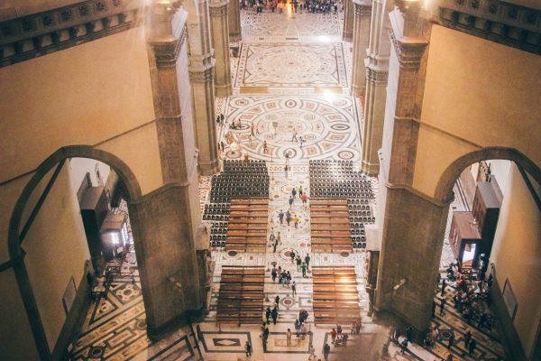 Intérieur de la cathédrale de Florence vu d'en haut