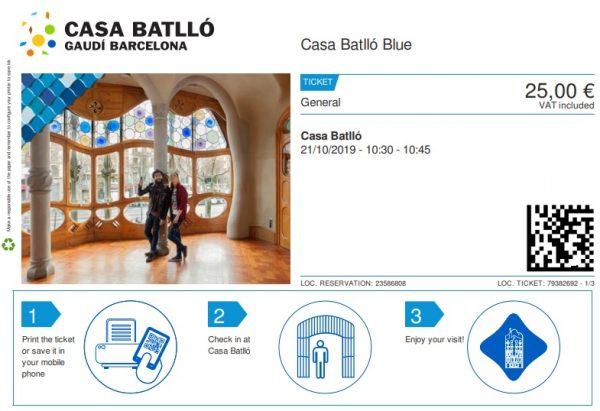 Billet d'entrée pour la visite de la Casa Batllo de Barcelone