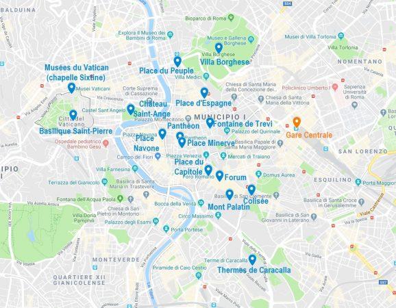 Carte de points d'intérêt pour visiter Rome
