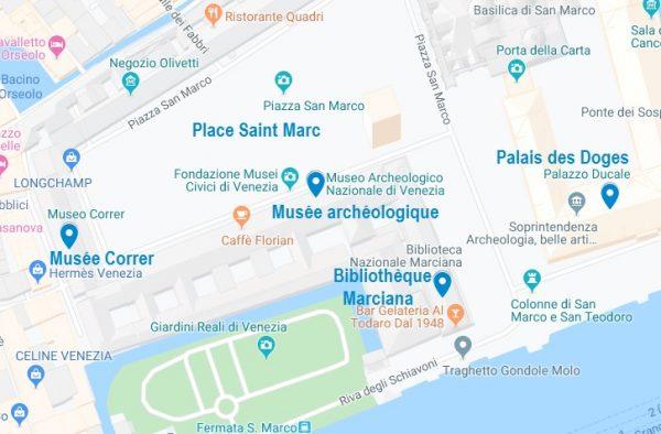 Carte des musées de la place Saint-Marc de Venise