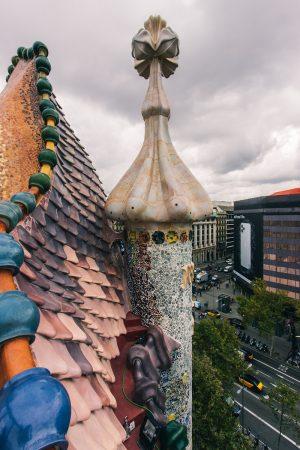 Vue depuis la terrasse de la Casa Batllo à Barcelone