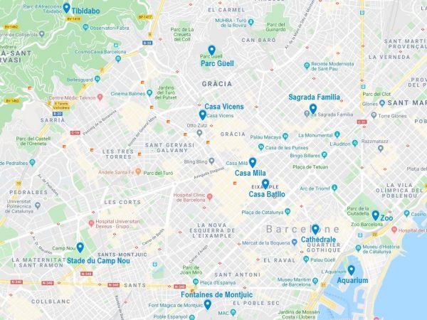 Carte de points d'intérêt pour une visite de Barcelone en famille