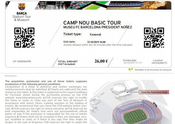 Billet pour la visite du Camp Nou de Barcelone