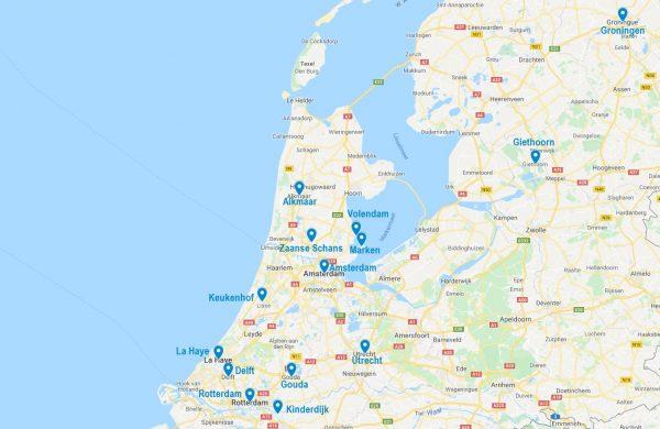 Carte de points d'intérêt à visiter aux Pays-Bas