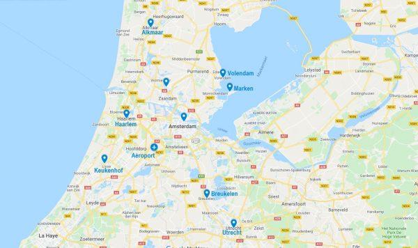 Carte de points d'intérêt à Amsterdam et ses alentours