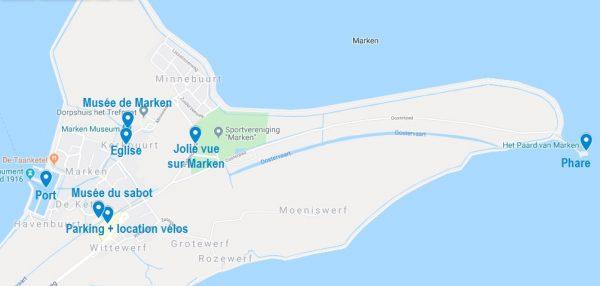 Carte de points d'intérêt à visiter à Marken