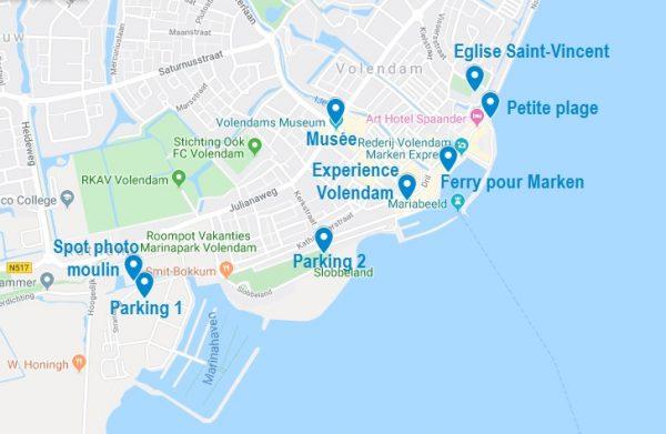 Carte de points d'intérêt pour visiter Volendam
