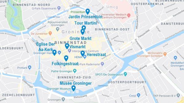 Carte de points d'intérêt à visiter à Groningen