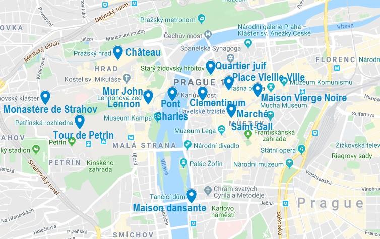 Carte de points d'intérêt pour visiter Prague en 3 jours