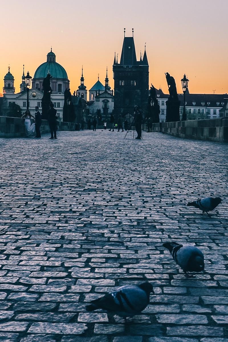 Lever de soleil sur le Pont Charles de Prague
