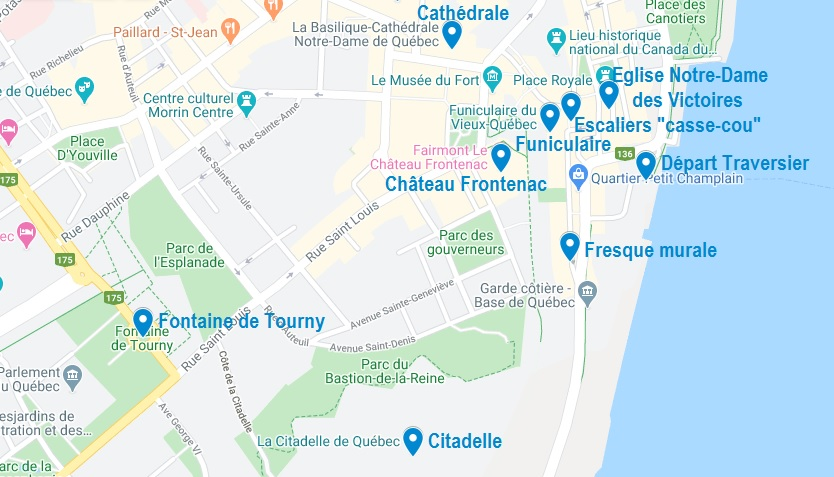 Carte de points d'intérêt pour visiter Québec