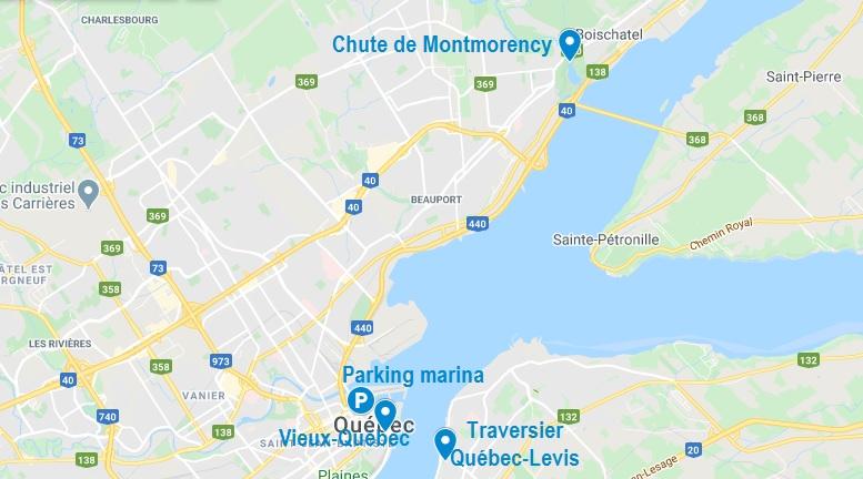 Carte de Québec et ses alentours