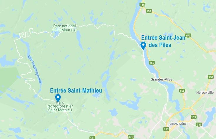 Entrées du parc national de la Mauricie au Québec
