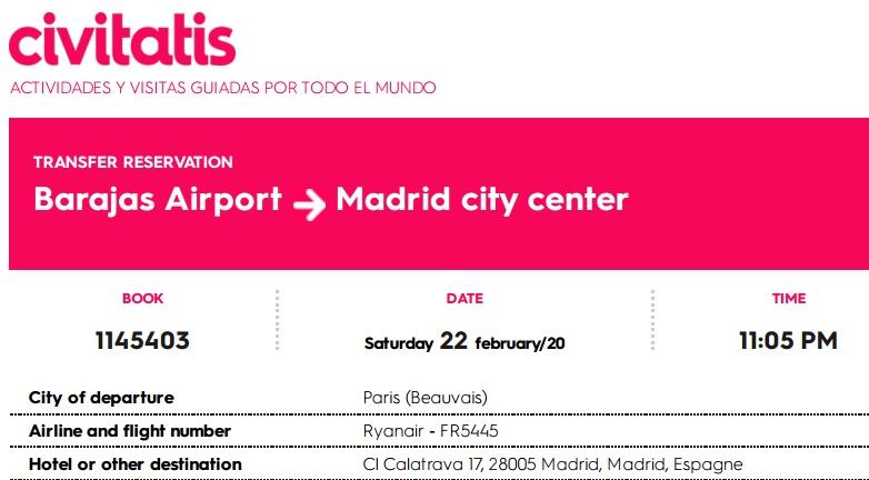 Exemple de réservation d'un chauffeur privé à l'aéroport de Madrid