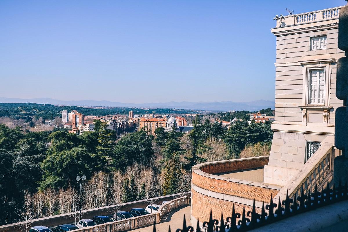 Panorama sur l'ouest de Madrid depuis la cour du Palais Royal