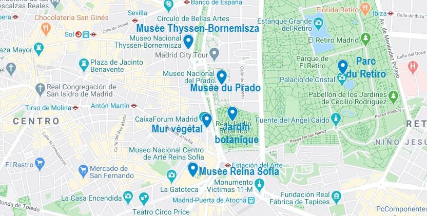 Points d'intérêt autour du Musée du Prado de Madrid