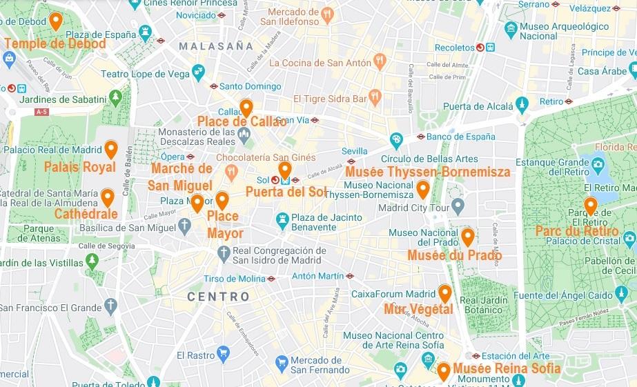 Carte de points d'intérêt pour visiter Madrid