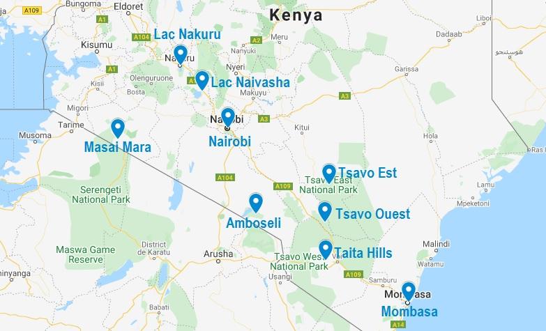 Carte d'un circuit au Kenya