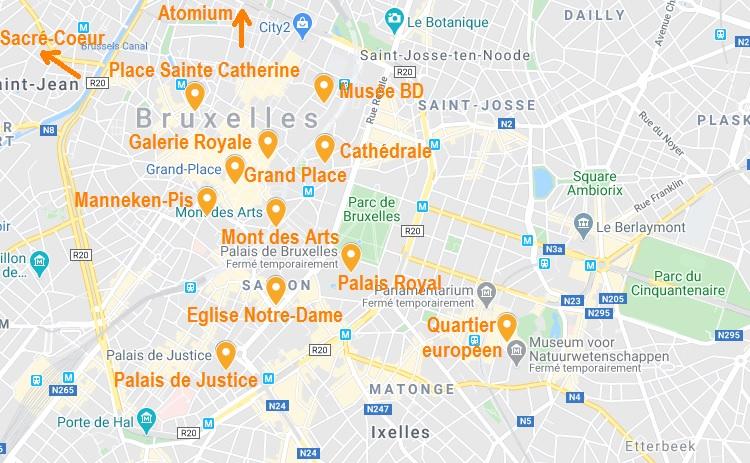 Carte de points d'intérêt de Bruxelles