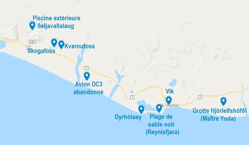 Carte de points d'intérêt à Vik et ses alentours en Islande