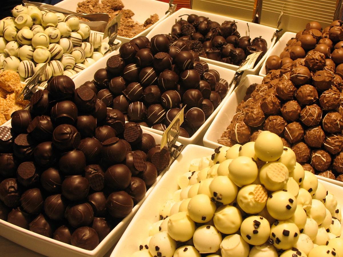 Dans une boutique de chocolats à Bruxelles