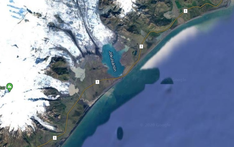 Le lagon de Jokulsarlon en vue satellite