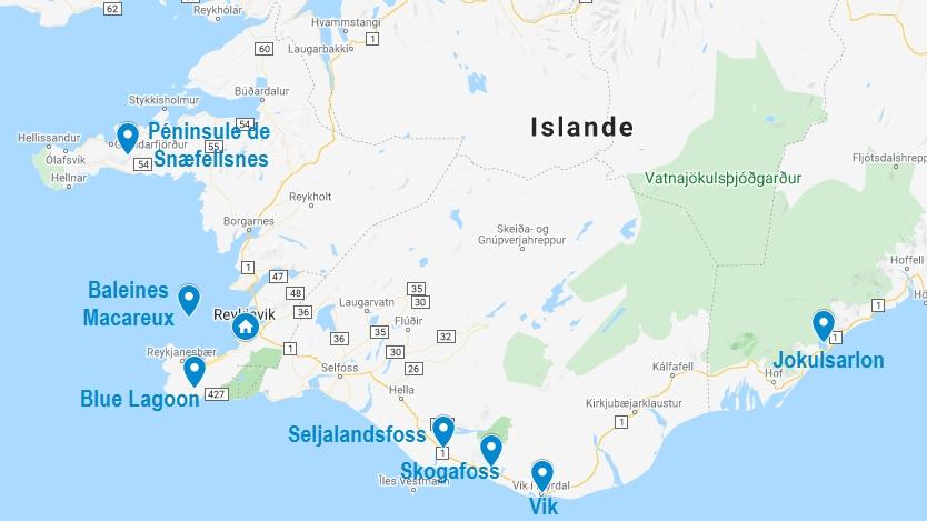 Carte d'excursions au départ de Reykjavik