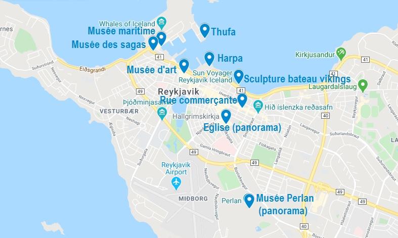 Carte de points d'intérêt à visiter à Reykjavik