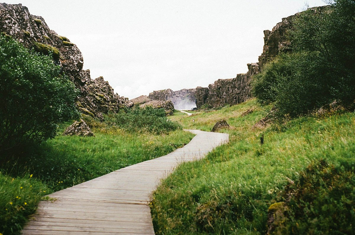 Chemin dans le parc de Thingvellir en Islande