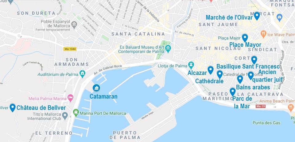 Carte de points d'intérêt à visiter à Palma de Majorque