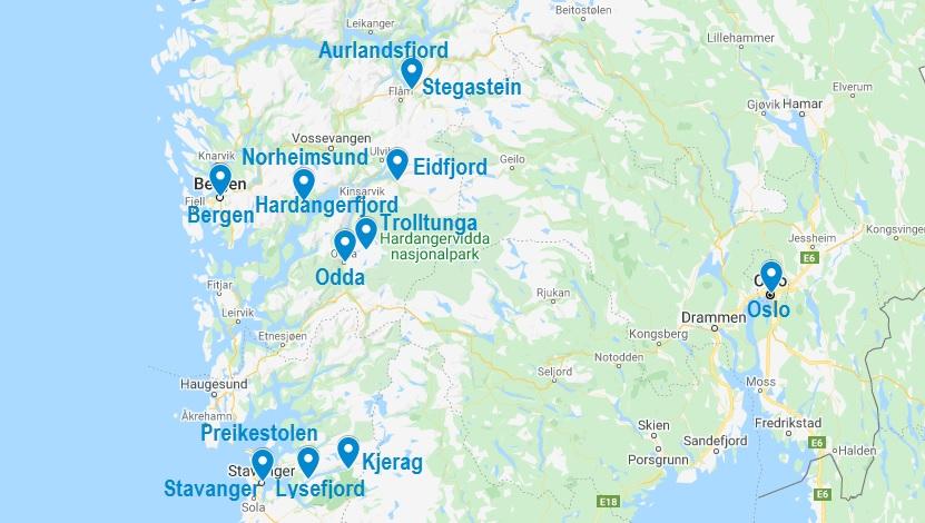Carte de fjords de Norvège