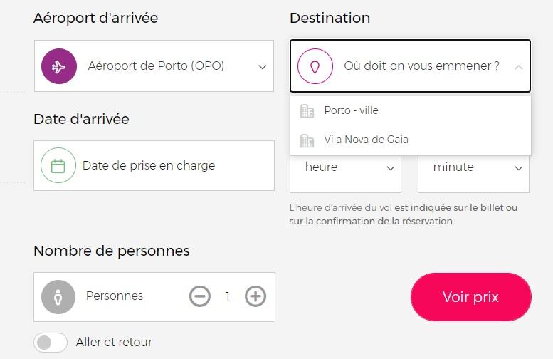 Réservation d'un chauffeur pour le trajet aéroport vers centre-ville de Porto