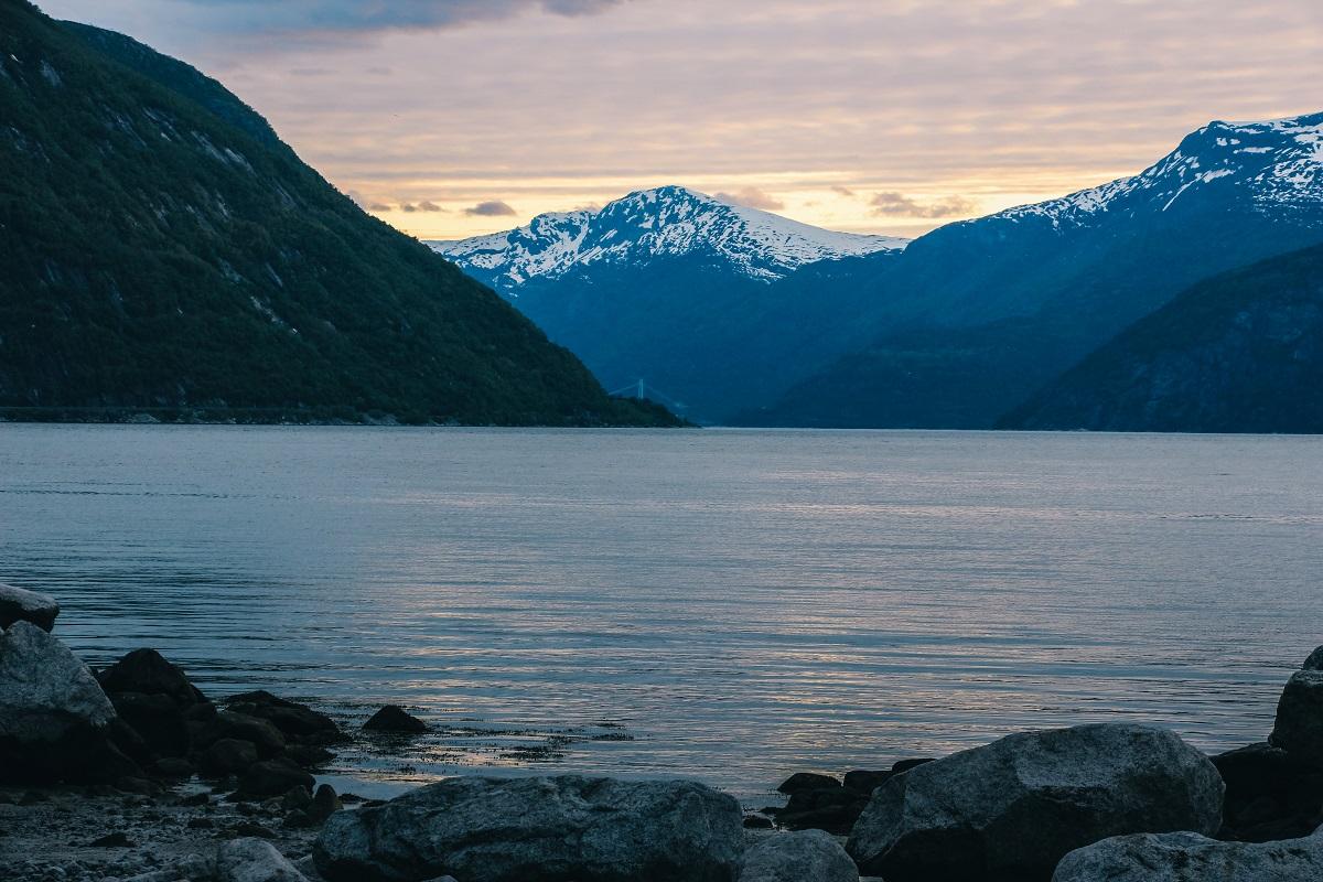 Coucher de soleil à Eidfjord