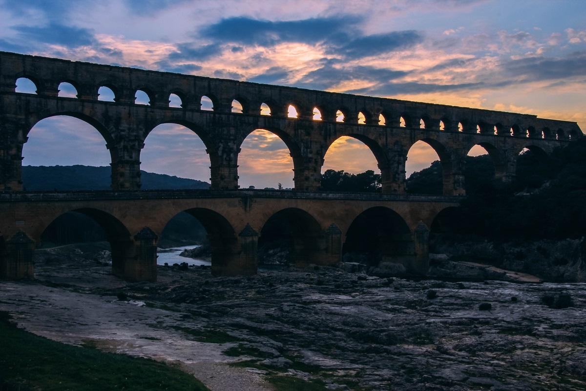 Pont du Gard au coucher du soleil