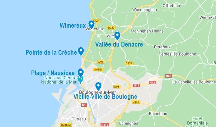 Carte de points d'intérêt dans les alentours de Boulogne sur Mer